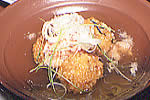海老芋饅頭のカニそぼろ餡かけ