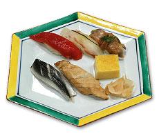 鮨(ずけ、平目、蛤煮、こはだ、穴子、玉子)