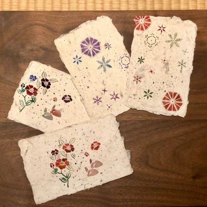 三嬢さんのはんなりワークショップ『伊勢型紙で染める和紙はがきクラフト体験』